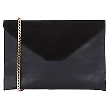 Buy Oasis Charlie Suede Patched Clutch Bag, Black Online at johnlewis.com