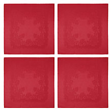 Buy John Lewis Rose Jacquard Napkins, Red, Set of 4 Online at johnlewis.com