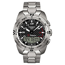 Buy Tissot T0134204420200 Men's T-Touch Chronograph Perpetual Calendar Titanium Bracelet Strap Watch, Silver/Black Online at johnlewis.com