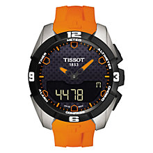 Buy Tissot T0914204705101 Men's T-Touch Expert Solar Chronograph Altimeter Rubber Strap Watch, Orange/Black Online at johnlewis.com