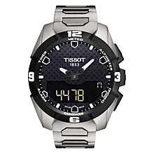 Buy Tissot T0914204405100 Men's T-Touch Expert Solar Chronograph Altimeter Titanium Strap Watch, Silver/Black Online at johnlewis.com