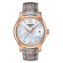 Buy Tissot T0632103711700 Women's Tradition Date Leather Strap Watch, Grey/Mother of Pearl Online at johnlewis.com