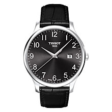 Buy Tissot T0636101605200 Men's Tradition Date Leather Strap Watch, Black Online at johnlewis.com