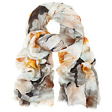 Buy John Lewis Digital Peony Print Scarf, Yellow/Multi Online at johnlewis.com
