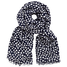 Buy John Lewis Scattered Hearts Print Scarf, Navy/White Online at johnlewis.com