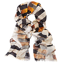 Buy John Lewis Tribal Squares Print Scarf, Grey/Yellow Online at johnlewis.com