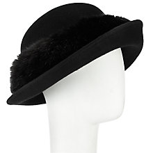 Buy John Lewis Faux Fur Trim Breton Cloche Hat, Black Online at johnlewis.com