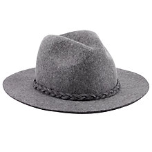 Buy John Lewis Plait Trim Fedora Hat, Grey Online at johnlewis.com