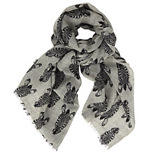 Buy John Lewis Hello Zebra Print Wool Scarf, Grey Online at johnlewis.com