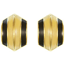 Buy Eclectica Vintage 1980s Christian Dior Gold Plated Enamel Clip-On Earrings, Cream/Black Online at johnlewis.com