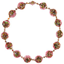 Buy Eclectica Vintage 1950s Gold Plated Venetian Glass Bead Floral Necklace, Pink/Multi Online at johnlewis.com