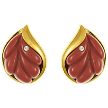 Buy Eclectica Vintage 1970s Givenchy Gold Plated Leaf Clip-On Earrings, Plum/Gold Online at johnlewis.com