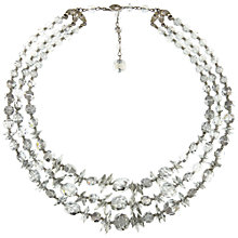 Buy Eclectica Vintage 1960s Chrome Plated 3 Row Austrian Crystal Necklace, Grey Online at johnlewis.com