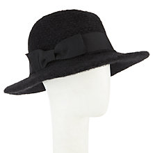 Buy John Lewis Bow Detail Knitted Fedora Hat, Black Online at johnlewis.com