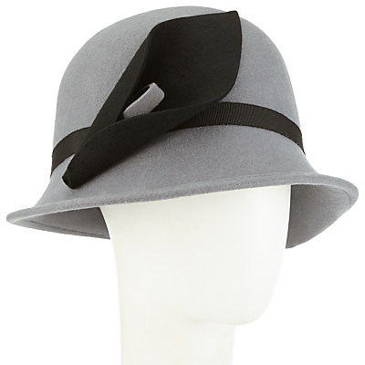 1920s Hat Styles for Women- History Beyond the Cloche Hat John Lewis Calla Lily Felt Cloche Hat GreyBlack £45.00 AT vintagedancer.com