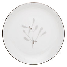 Buy John Lewis Snowshill Sprig 22cm Plate, White / Silver Online at johnlewis.com