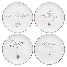 Buy John Lewis Snowshill Tea Plates, White / Silver, Dia.16cm Online at johnlewis.com
