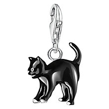 Buy Thomas Sabo Charm Club Cat Charm, Silver/Black Online at johnlewis.com