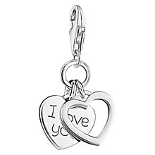 Buy Thomas Sabo Charm Club I Love You Double Heart Charm, Silver Online at johnlewis.com