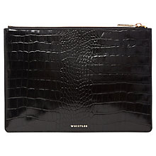 Buy Whistles Shiny Croc Leather Medium Clutch Bag, Black Online at johnlewis.com
