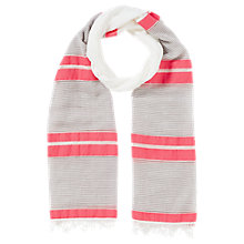 Buy Jigsaw Cotton Mix Stripe Scarf, Coral Online at johnlewis.com