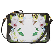Buy Ted Baker Lizel Forget Me Not Leather Across Body Bag, Black Online at johnlewis.com
