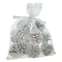Buy John Lewis Snowshill White Glittery Pine Cones, Pack of 12 Online at johnlewis.com