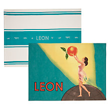 Buy LEON Tea Towels, Lady and Stamp Design, Set of 2 Online at johnlewis.com