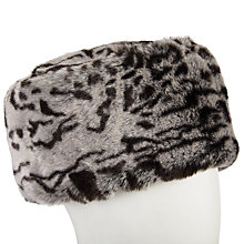 Buy John Lewis Animal Print Faux Fur Cossack Hat, Black/Cream Online at johnlewis.com
