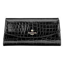 Buy Aspinal of London Eaton Leather Clutch Bag, Black Croc Online at johnlewis.com