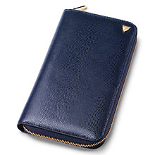 Buy Aspinal of London Leather Zipped Travel Wallet with Passport Cover, Midnight Blue Online at johnlewis.com