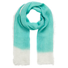 Buy Jigsaw Linen Dipped Scarf, Aqua Online at johnlewis.com