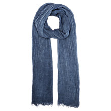 Buy Jigsaw Frayed Linen Scarf, Indigo Online at johnlewis.com
