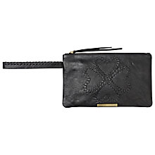 Buy Et DAY Birger et Mikkelsen Logo Thread Leather Pochette, Black Online at johnlewis.com