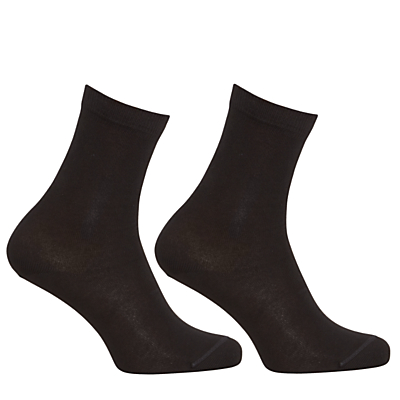 John Lewis Egyptian Cotton Ankle Socks, Pack of 2