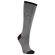 Buy John Lewis Viscose Blend Wide Stripe Knee High Socks, Black/White Online at johnlewis.com