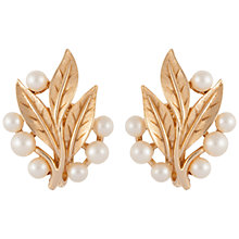 Buy Susan Caplan Vintage 1960s Trifari Gold Plated Faux Pearl Leaf Clip-On Earrings, Gold Online at johnlewis.com