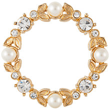 Buy Susan Caplan Vintage 1970s Gold Plated Crystal and Faux Pearl Leaf Wreath Brooch, Gold/White Online at johnlewis.com