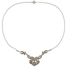 Buy Susan Caplan Vintage 1940s Silver Plated Marcasite Floral Necklace, Silver Online at johnlewis.com