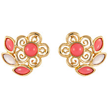 Buy Susan Caplan Vintage 1980s Trifari Gold Plated Lucite Cabochon Flower Clip-On Earrings, Pink/Gold Online at johnlewis.com