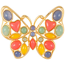 Buy Susan Caplan Vintage 1980s Trifari Gold Plated Glass Stone Butterfly Brooch, Gold/Multi Online at johnlewis.com