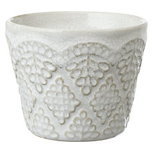Buy John Lewis Lace Effect Tea Light, White Online at johnlewis.com