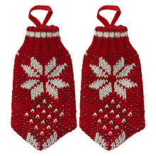 Buy John Lewis Scandi Fairisle Cutlery Mittens, Set of 2, Red/ White Online at johnlewis.com