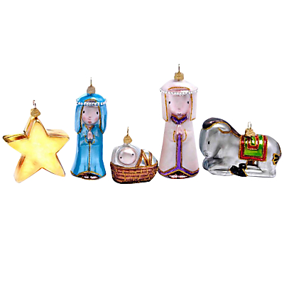 Image of Bombki Tourism 'Away In A Manger' Handmade Tree Decorations, Box of 5