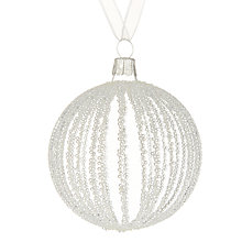 Buy John Lewis Snowshill Beaded Stripe Bauble, Clear Online at johnlewis.com