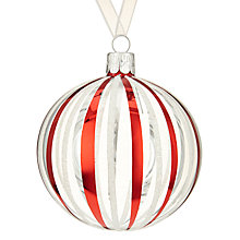 Buy John Lewis Chamonix Red And White Stripe Bauble, Clear Online at johnlewis.com