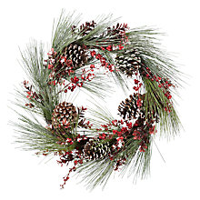 Buy John Lewis Ruskin House Frosted Pine & Giant Pine Cone Wreath Online at johnlewis.com