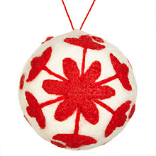 Buy John Lewis Chamonix Felt Flower Bauble, Cream/ Red Online at johnlewis.com