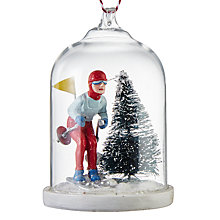 Buy John Lewis Chamonix Glass Cloche Skiier Bauble, Clear Online at johnlewis.com
