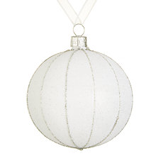 Buy John Lewis Snowshill Frosted Stripe Bauble, Silver Online at johnlewis.com